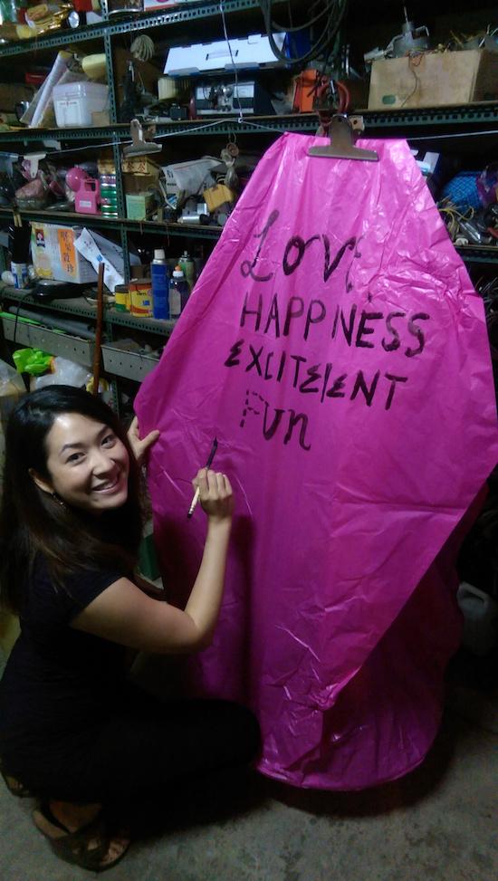 Making a lantern at the Pingxi Lantern Festival