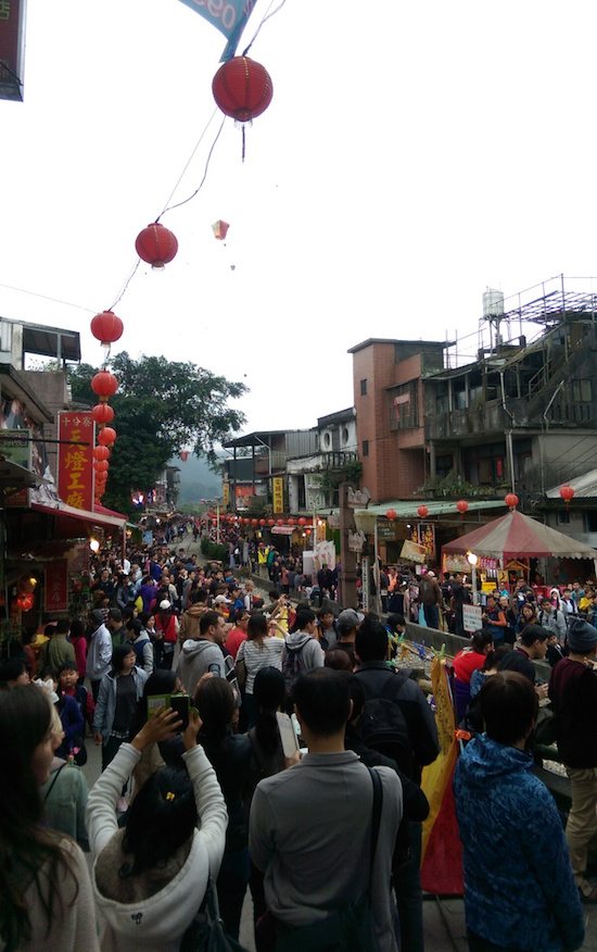 A train draws a large crowd at Shifen Taiwan