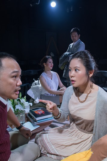 Veronica has a stern word to husband Michael on the set of God of Carnage, Taipei
