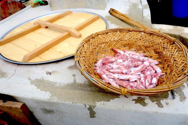 Freshly cooked squid in Penghu, Taiwan