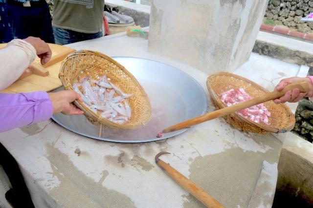 Preparing squid to cook in Penghu, Taiwan