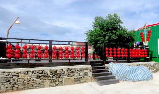 Traditional Chinese characters written on red balls in Nanliao, Penghu
