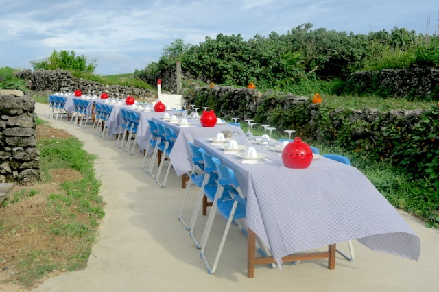 Long table set outdoors ready for dinner to be served in Nanliao, Penghu