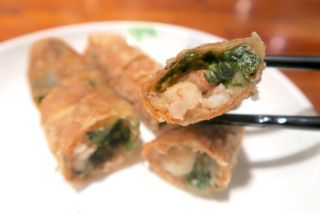 A closeup of Fulou Restaurant's famous shrimp rolls