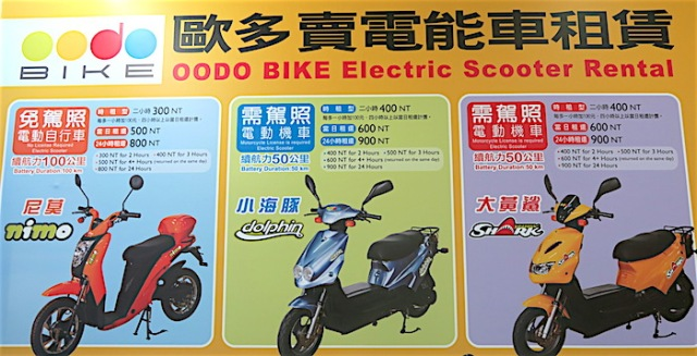 A price list for Oodo Bike's electric scooter rentals
