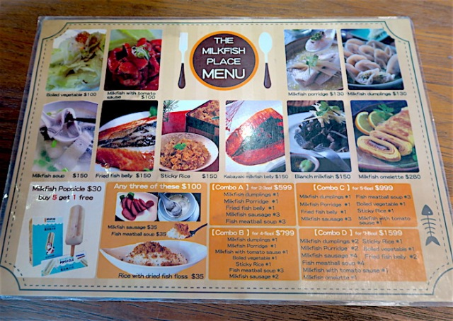 The Milkfish Palace menu