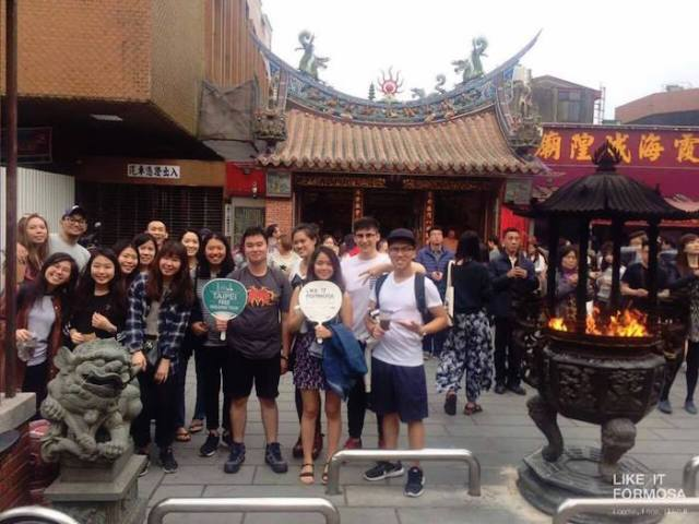 Like it Formosa group in front of the Xin Hai City Good Temple, Taipei